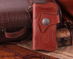 Handmade Genuine Leather Mens Cool Biker Chain Wallet Long Leather Wallet Clutch Wristlet Wallet for Men