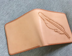 Handmade Leather Mens Tooled Feather Cool billfold Leather Wallet Men Small Wallets Bifold for Men