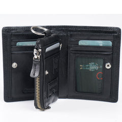 Genuine Leather Mens Cool billfold Leather Wallet Men Small Zipper Wallets for Men