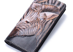 Handmade Leather Zebra Tooled Mens Chain Biker Wallet Cool Leather Wallet With Chain Wallets for Men
