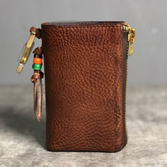 Handmade Leather Mens Cool Key Wallet Car Key Change Coin Card Holder Car Key Case for Men