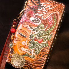 Handmade Leather Tooled Buddha Mens Chain Biker Wallet Cool Leather Wallet Long Phone Wallets for Men