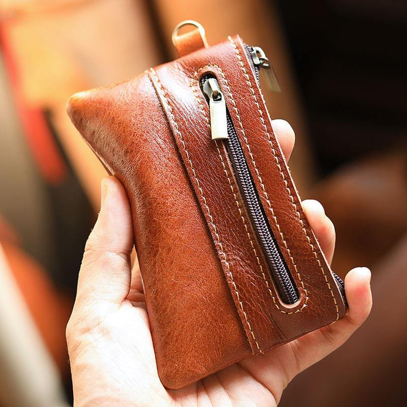 Black Leather Mens billfold Coin Wallet Zipper Small Coin Holder Change Pouch For Men