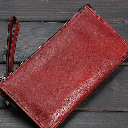 Handmade Leather Mens Cool Long Leather Wallet Zipper