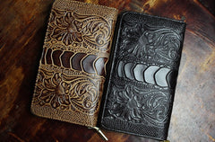 Handmade Leather Mens Tooled Floral Cool Zipper Phone Travel Long Wallet Card Holder Card Slim Clutch Wallets for Men