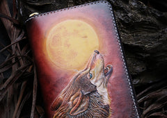 Handmade Leather Mens Clutch Wallet Cool Wolf Tooled Wallet Long Zipper Wallets for Men