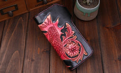 Handmade Mens Cool Tooled Carp Leather Chain Wallet Biker Trucker Wallet with Chain