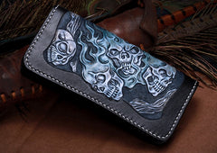 Handmade Leather Skull Tooled Mens Chain Biker Wallet Cool Leather Wallet With Chain Wallets for Men