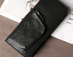 Genuine Leather Mens Cool Long Leather Wallet Cards Phone Zipper Clutch Wristlet Wallet for Men