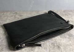 Genuine Leather Mens Clutch Cool Slim Wallet Zipper Clutch Wristlet Wallet for Men