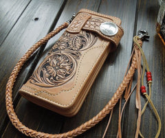 Handmade Leather Biker Wallet Tooled Floral Mens Cool Chain Wallet Trucker Wallet with Chain