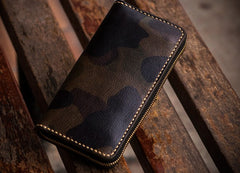 Handmade Leather Men Camouflage Cool Leather Wallet Long Phone Clutch Wallets for Men