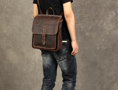 Genuine Leather Mens Cool Backpack Sling Bag Messenger Bag Coffee Travel Bag Hiking Bag for men