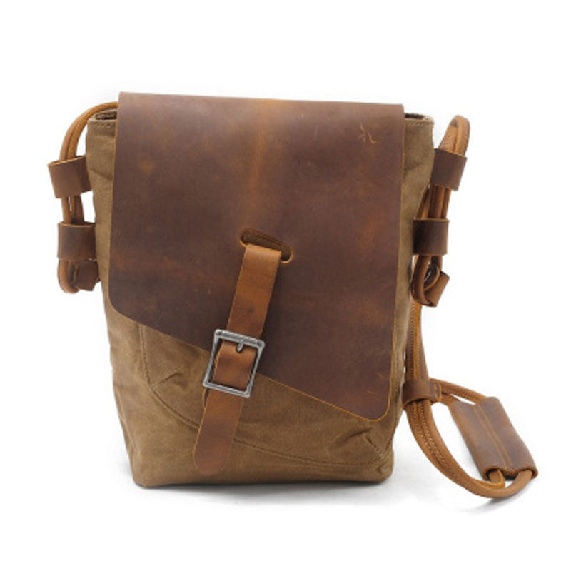 c832dfaf6c Cool Mens Waxed Canvas Leather Small Courier Bags Canvas Side Bags for –  iwalletsmen