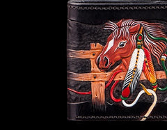 Handmade Leather Fine Horse Tooled Mens Short Wallet Cool Leather Wallet Slim Wallet for Men