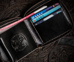Handmade Leather Chinese Black&White Tooled Mens billfold Wallet Cool Leather Wallet Slim Wallet for Men