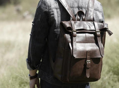 Handmade Leather Mens Cool Backpack Sling Bag Large Coffee Travel Bag Hiking Bag for men