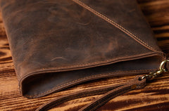 Handmade Leather Mens Clutch Cool Slim BagZipper Clutch Wristlet Wallet for Men