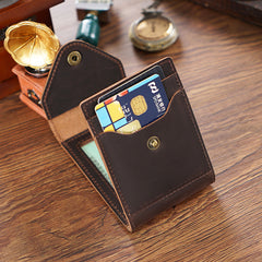 Leather Small Mens Wallet Zipper billfold Front Pocket Wallet Driver's License Card Wallet for Men