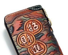 Handmade Leather Fortune Pixiu Mens Chain Biker Wallet Cool Leather Wallet With Chain Wallets for Men