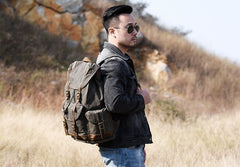 Oil Wax Canvas Mens Cool Backpack Bag Sling Bag Large Travel Bag Hiking Bag for Men