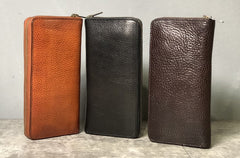 Genuine Leather Mens Cool Long Leather Phone Wallet Zipper Clutch Wallet for Men