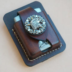 Handmade Coffee Leather Classic Zippo Lighter Case Standard Zippo Lighter Holder Pouch For Men