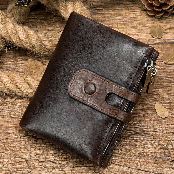 RFID Brown Leather Men's Double Zipper Small Wallet Black billfold Wallet For Men