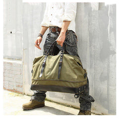 Army Green Canvas Mens Travel Bag Weekender Bag Business Hand Bag Large Travel Bag for Men