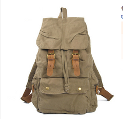 Army Green Canvas School Laptop Backpack Travel Backpack Canvas Mens Hiking Backpack For Men