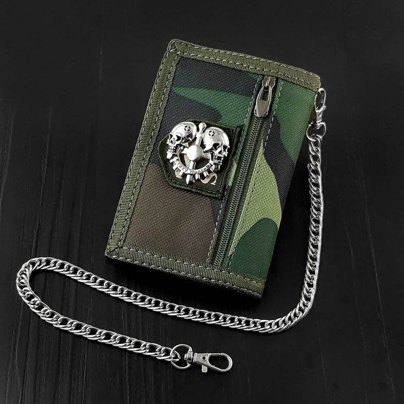 BADASS CAMOUFLAGE Canvas MENS TRIFOLD SMALL BIKER WALLETS CHAIN WALLET WALLET WITH CHAINS FOR MEN