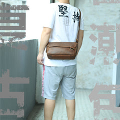 BADASS Brown LEATHER MENS SMall Postman BAG SIDE BAG COURIER BAG MESSENGER BAG FOR MEN