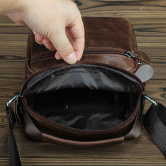 BROWN LEATHER MEN'S 10 inches Side bag Vertical Courier Bag MESSENGER BAG FOR MEN