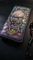 Badass Black Leather Men's Chinese Lion Biker Wallets Handmade Tooled Zipper Long Wallets For Men
