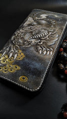 Badass Black Leather Men's Chinese Monster Long Biker Wallet Handmade Tooled Zipper Long Wallets For Men