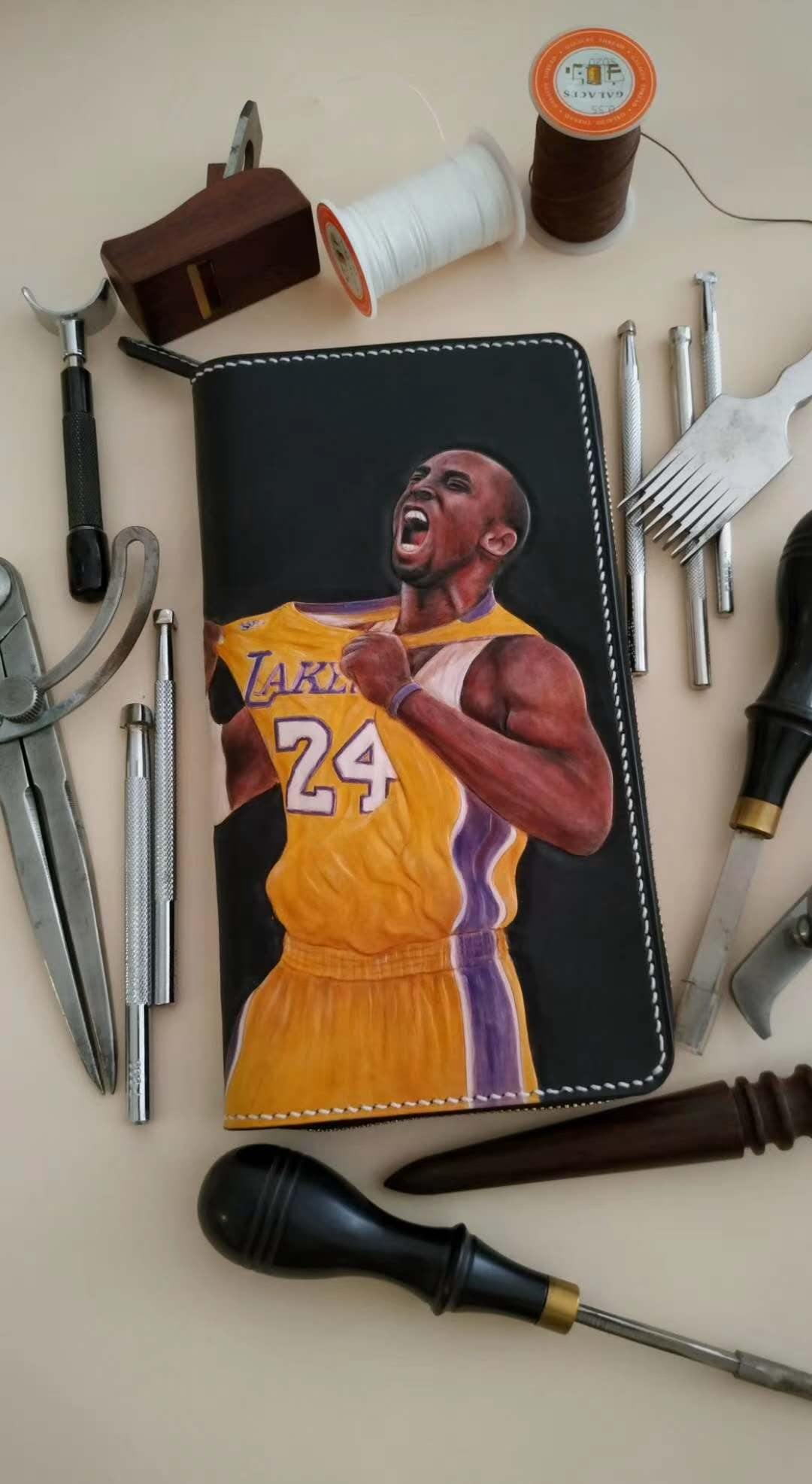 Badass Black Leather Men's Kobe Bryant Yellow Jersey Long Biker Wallet Handmade Tooled Zipper Long Wallet For Men
