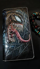 Badass Black Leather Men's Venom Long Biker Wallet Handmade Tooled Zipper Long Wallets For Men