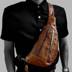 Badass Brown Leather Men's Sling Bags Chest Bag Brown One shoulder Backpack Sling Bag For Men