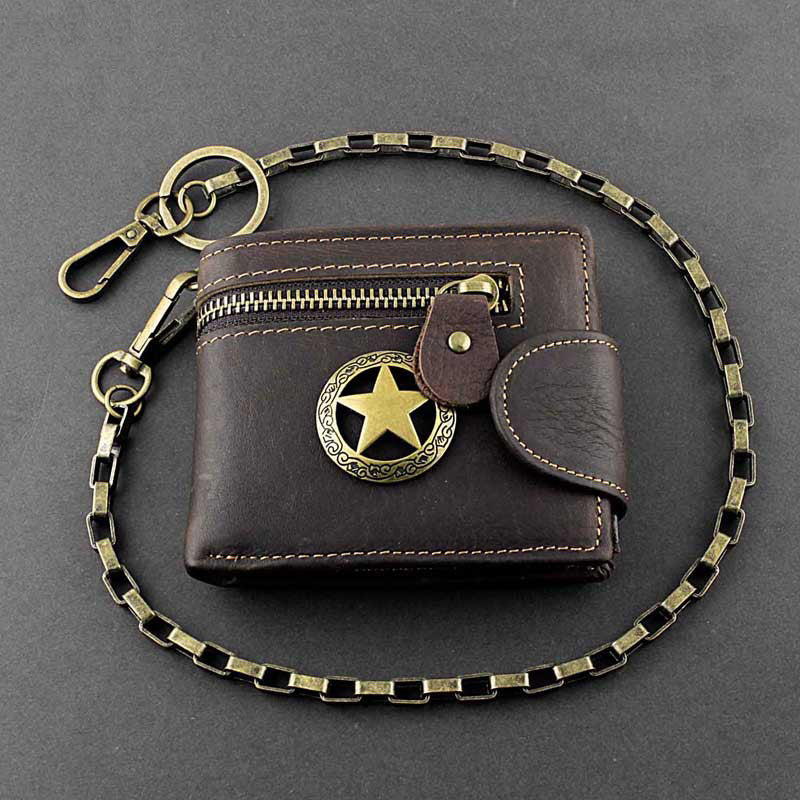 Badass Coffee Star Leather Men's Trifold Small Biker Wallet Chain Wallet Wallet with chain For Men