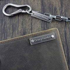 Cool Dark Coffee Leather Men's Small Biker Wallets Chain Wallet Bifold Wallets with chain For Men