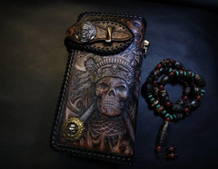 Badass Black Leather Men's Indian Chief Skull Biker Wallet Handmade Tooled Zipper Long Wallets For Men