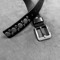 Badass Black Leather Metal Rock Punk Belt Black Motorcycle Belt Leather Rivet Belts For Men