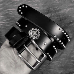 Badass Leather Metal Skull Belt Black Motorcycle Belt Cool Rivets Leather Round Belts For Men