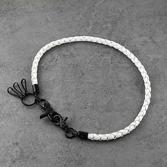 Badass White Leather Braided Long Wallet Chain Cool Punk Rock Biker Trucker Wallet Chain Trucker Wallet Chain for Men