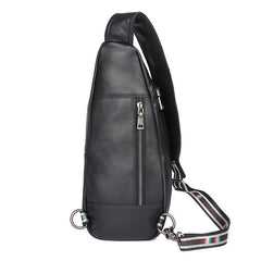 Badass Black Leather Men's 8 inches Sling Bag Chest Bag One shoulder Backpack Sling Backpack For Men