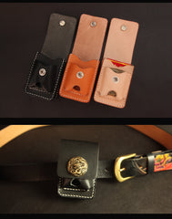 Black Handmade Leather Mens Cool Belt Cigarette Case Holder Cigarette Lighter Case For Men