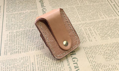 Handmade Mens Beige Leather Classic Zippo Lighter Case Black Zippo Lighter Holder with Belt Loop