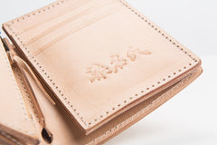 Beige Leather Mens Vertical billfold Wallet Front Pocket Wallet Bifold Handmade Small Wallets For Men