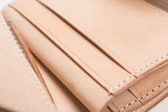 Handmade Beige Leather Mens Short Biker Wallet Bifold Small Biker Wallet For Men