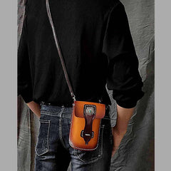 Black Badass Mens Leather Waist Bag Side Bag Brown Belt Bag Belt Pouch Purse for Men